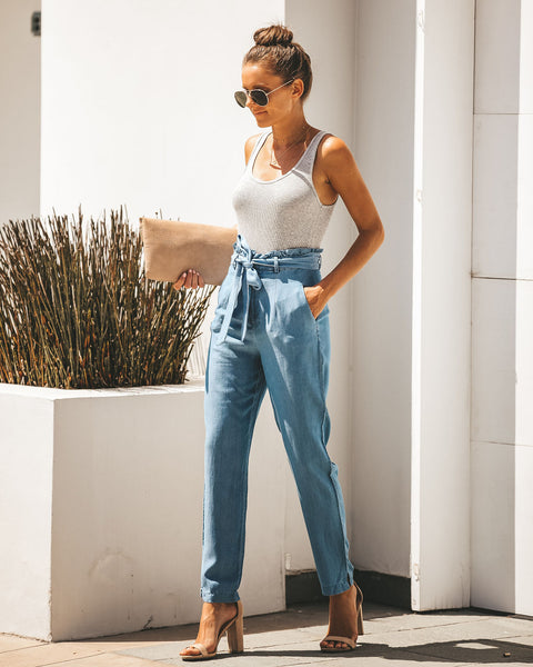 Easygoing Pocketed Chambray Tie Pants