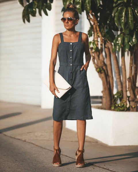 Ramie Pocketed Button Down Dress - FINAL SALE
