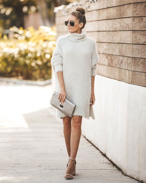 Hold Me Close Sweater Dress - Grey - FINAL SALE