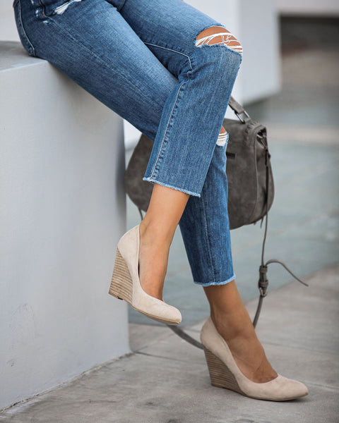 Quaint Faux Suede Wedge Heels - Nude - FLASH SALE