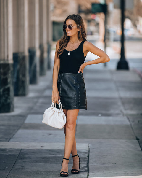 Genius Is Patience Faux Leather Mini Skirt - Black
