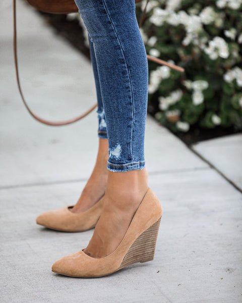 Quaint Faux Suede Wedge Heels - Toffee - FINAL SALE
