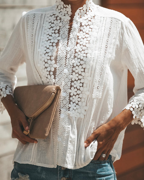 Sweet Mary Crochet Lace Top - Ivory