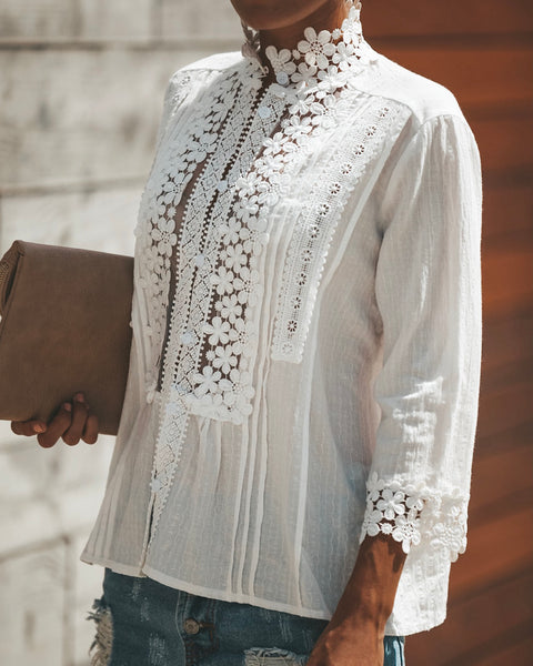 PREORDER - Sweet Mary Crochet Lace Top - Ivory