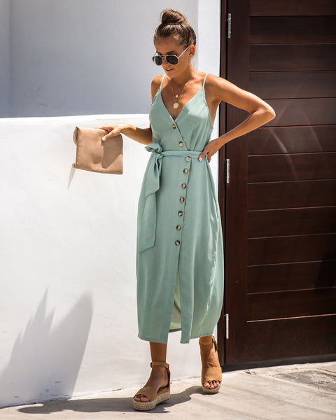 Charmed Life Button Down Midi Dress - Sea Green - FINAL SALE