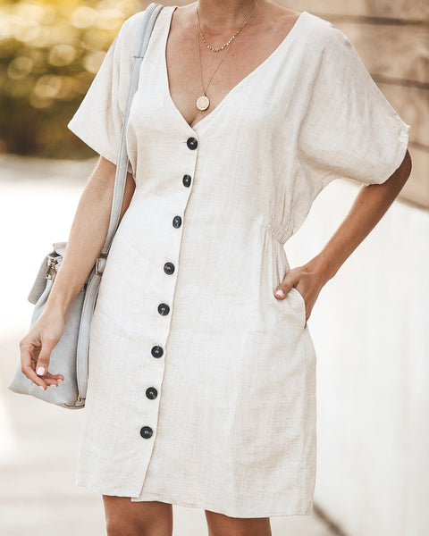 Beechwood Pocketed Button Down Dress - Tan