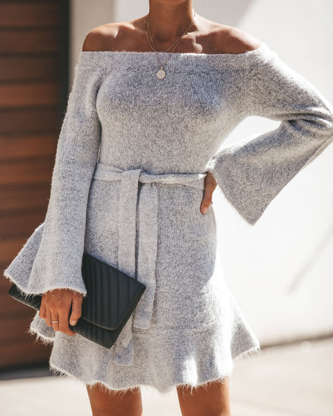 Adoration Off The Shoulder Sweater Dress - Heather Grey