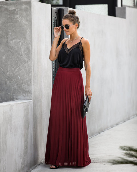 Pivotal Moments Pleated Maxi Skirt - Burgundy - FINAL SALE