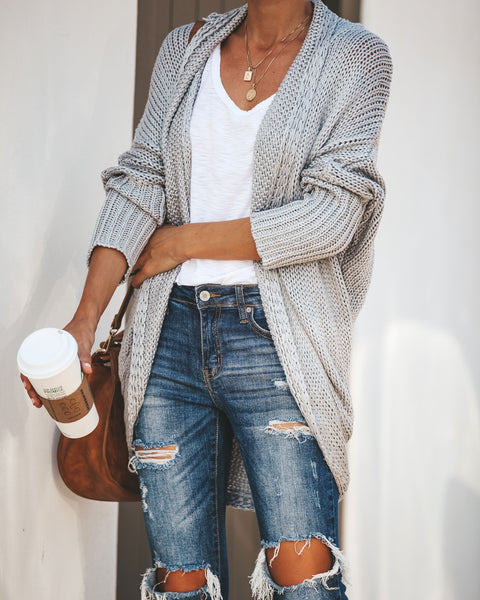 By The Book Knit Cardigan - Heather Grey - FINAL SALE