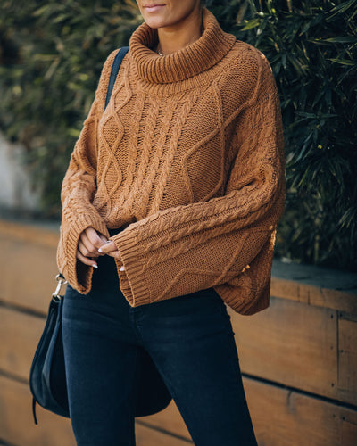 Lyla Cotton Blend Cable Knit Sweater - Camel