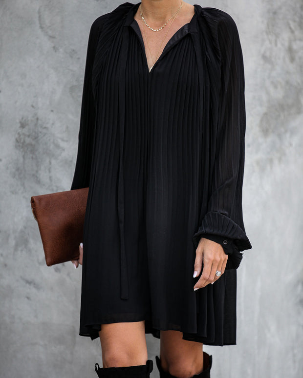 Very Merry Pleated Chiffon Dress - Black - FINAL SALE