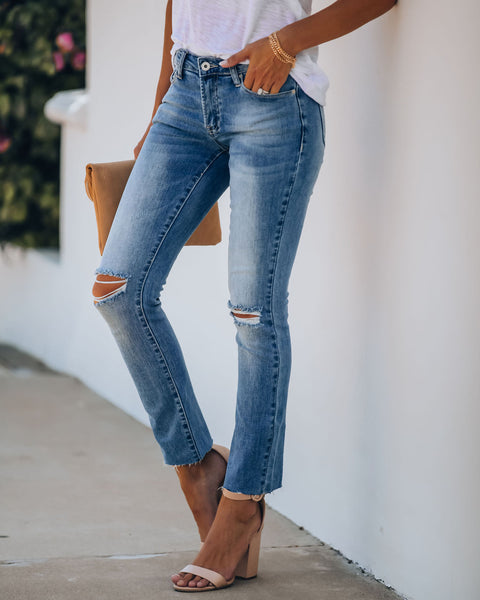 Right Place Right Time Mid Rise Distressed Denim