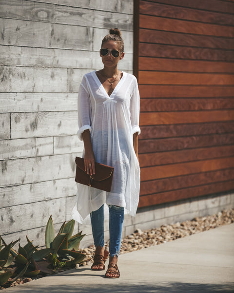 Prairie Winds Pocketed Tunic - Off White