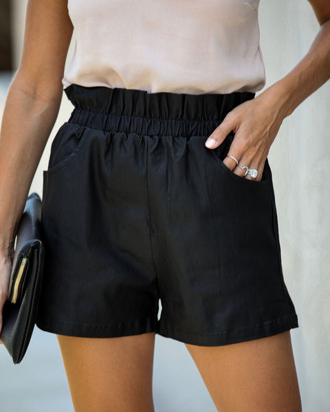 Volcanic Pocketed Paper Bag Waist Coated Shorts