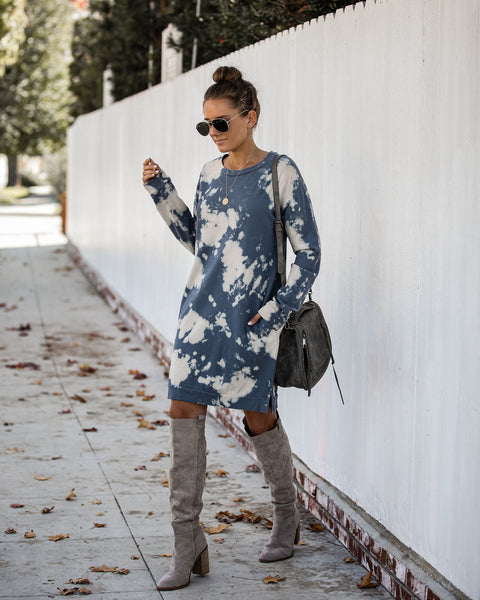 Jean Cotton Pocketed Tie Dye Sweatshirt Dress