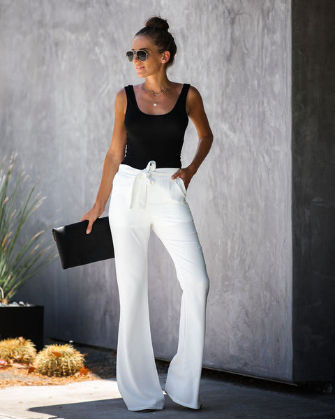 Dress To Impress Pocketed Flared Tie Pants - White