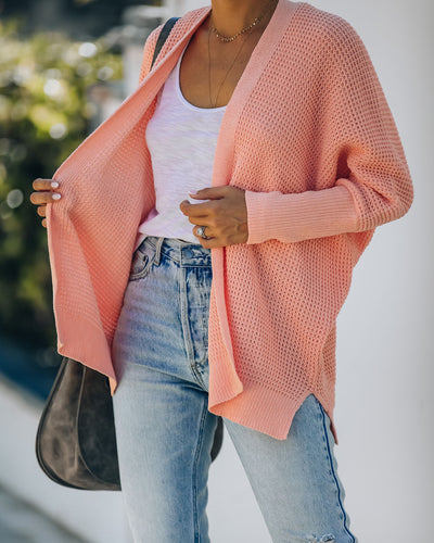 Love You, Mean It Dolman Knit Cardigan - Bright Coral
