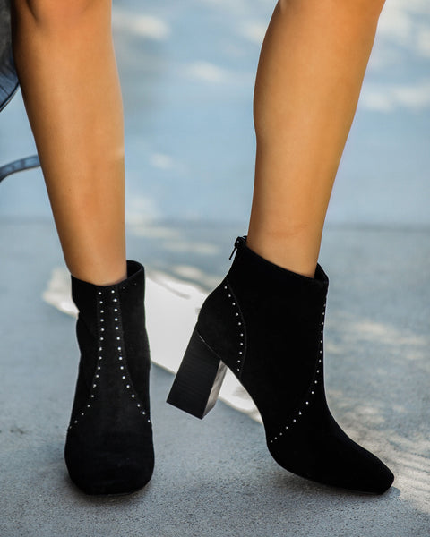 Style Me Studded Faux Suede Bootie - Black - FINAL SALE