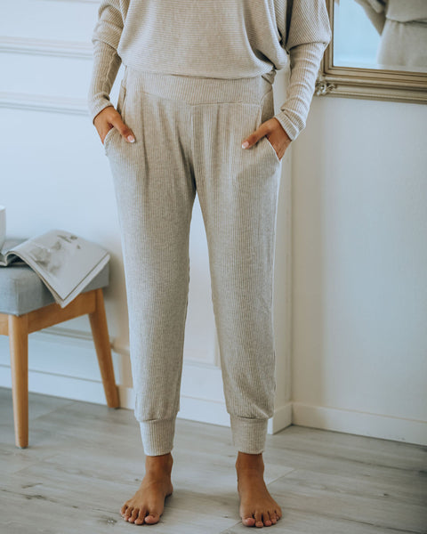Count Sheep Pocketed Ribbed Knit Joggers - Oatmeal