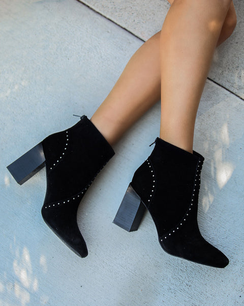 Style Me Studded Faux Suede Bootie - Black - FLASH SALE