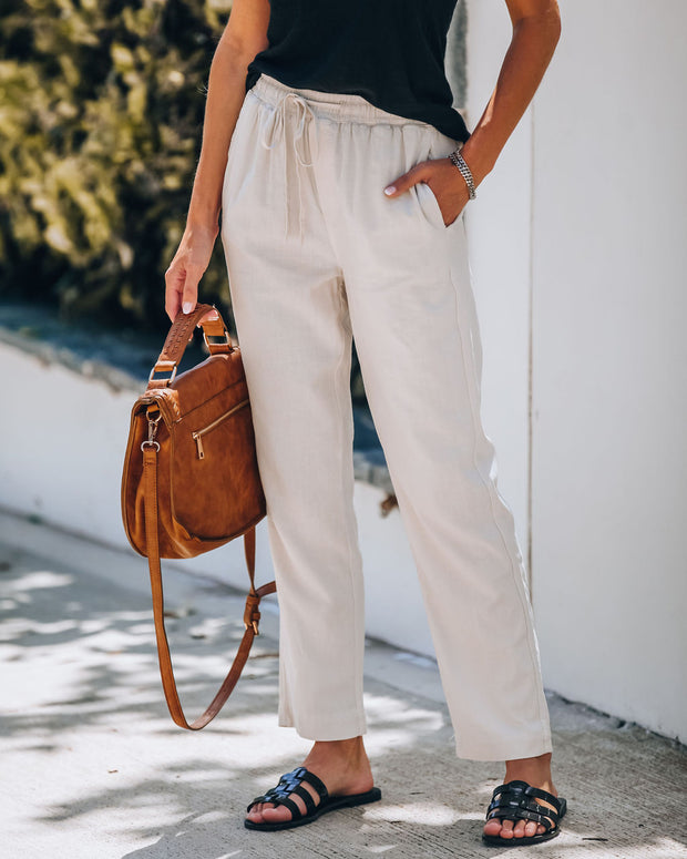 Analise Linen Blend Pocketed Pants - Linen