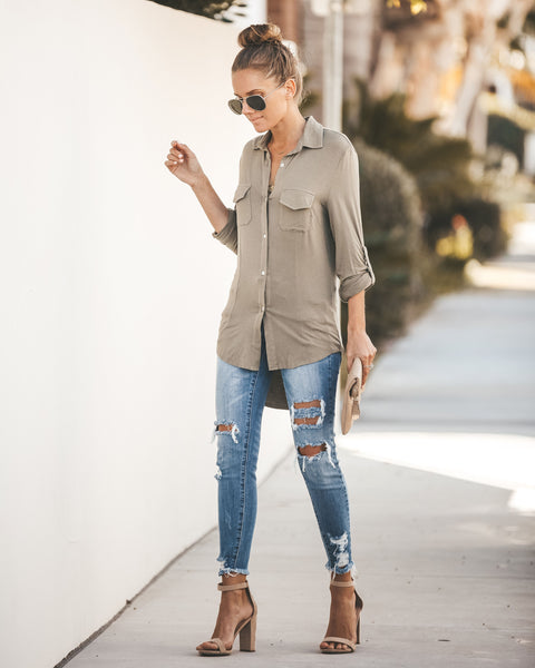 Good On You Button Down Top - Olive