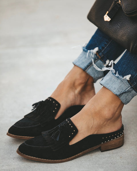 Berlin Faux Suede Tassel Loafer - Black