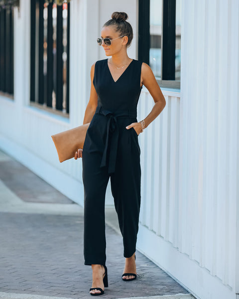 Live A Little Pocketed Jumpsuit - Black