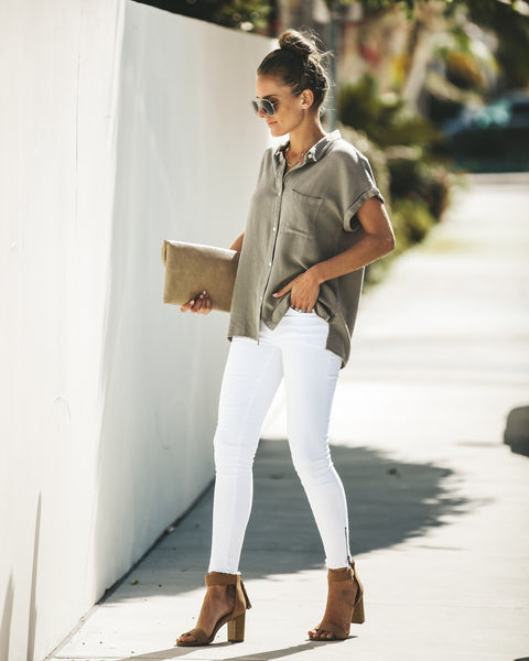 Janelle Button Down Top - Slate Green