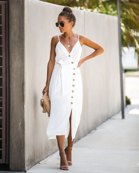 297bfefe2 Charmed Life Button Down Midi Dress - Off White