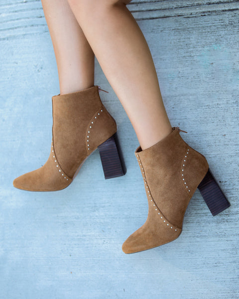 Style Me Studded Faux Suede Bootie - Camel - FLASH SALE