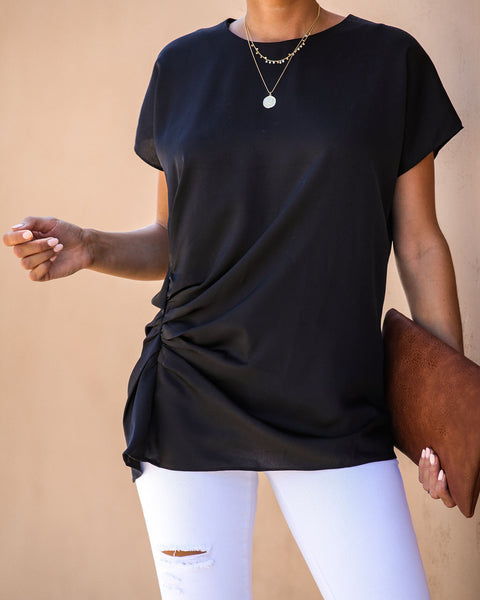 Oh, You Fancy Gathered Satin Blouse - Black - FINAL SALE