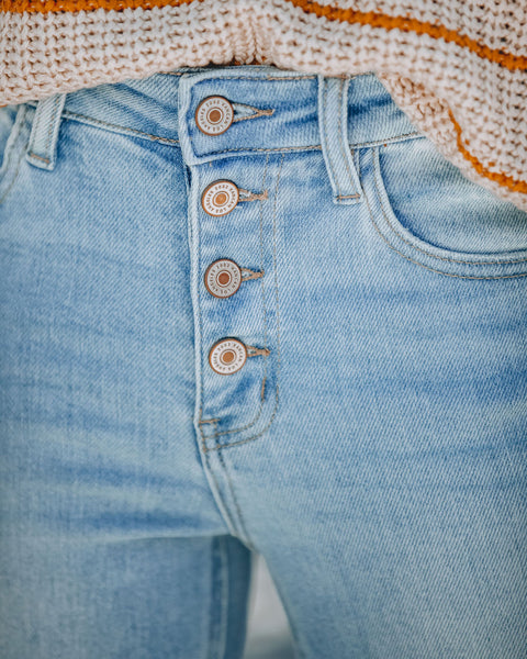 Salt Lake Mid Rise Button Front Distressed Skinny - FINAL SALE