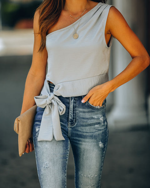 Delaney One Shoulder Crop Top - Sage Grey