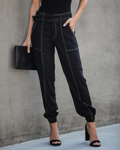 Common Thread Pocketed Belted Tencel Pants