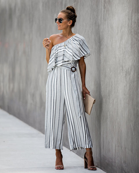 Nolen One Shoulder Belted Jumpsuit - FINAL SALE