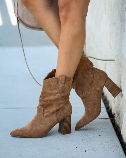 Dev Faux Suede Heeled Bootie - Tan
