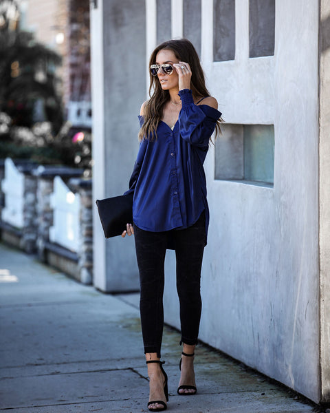 Earnest Satin Cold Shoulder Blouse