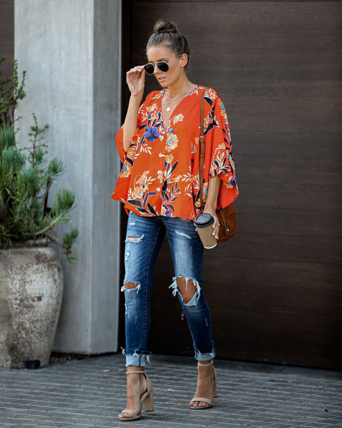 Dandy Satin Button Down Kimono Top