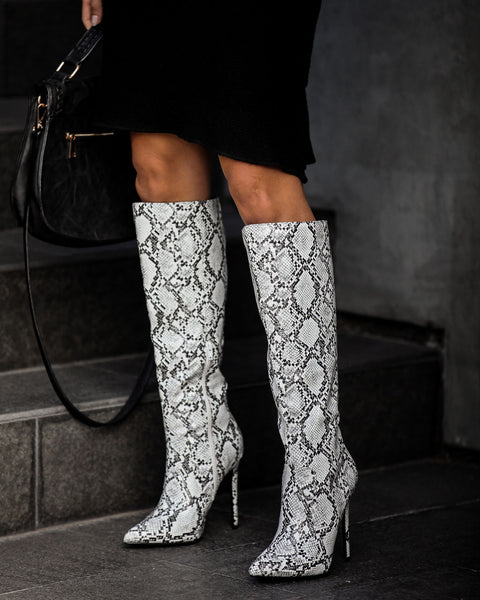 Latest Obsession Heeled Python Boot