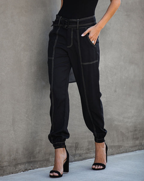 Common Thread Pocketed Belted Tencel Pants  - FINAL SALE
