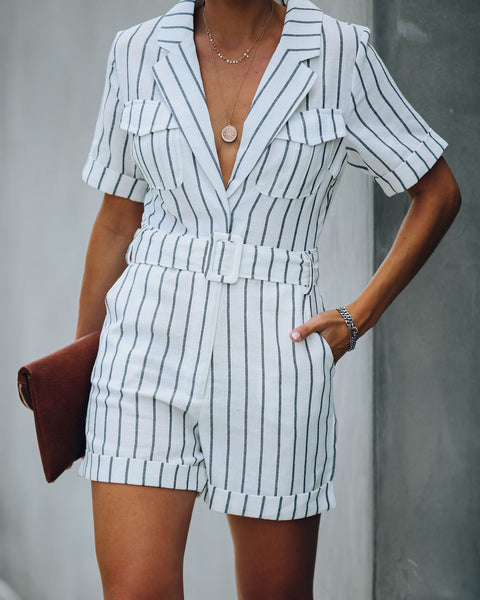 Shore Thing Cotton Blend Pocketed Striped Romper