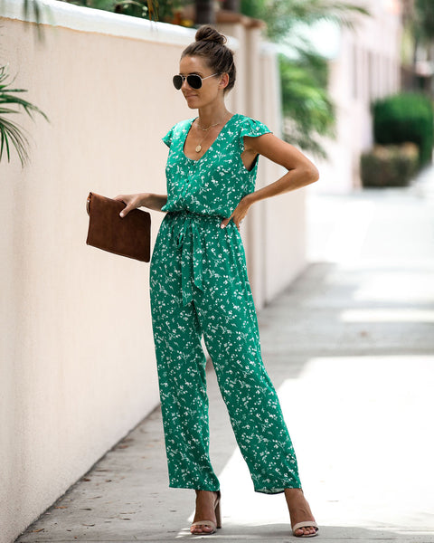 Cork Floral Button Down Tie Jumpsuit