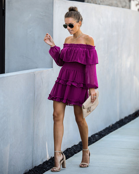 Miss Congeniality Off The Shoulder Ruffle Tunic - FINAL SALE