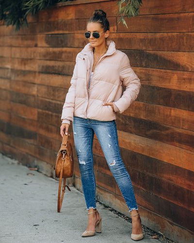 Sugar Bowl Pocketed Puffer Jacket - Blush