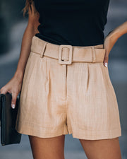 Rancho Mirage Pocketed Belted Linen Blend Shorts - FINAL SALE