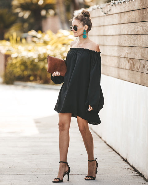 Shape Of My Heart Off The Shoulder Dress - Black