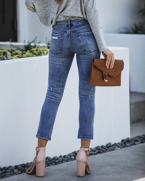 Exercise Mid Rise Distressed Denim - FINAL SALE