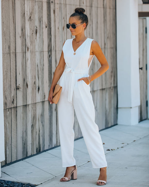 Live A Little Pocketed Jumpsuit - Off White
