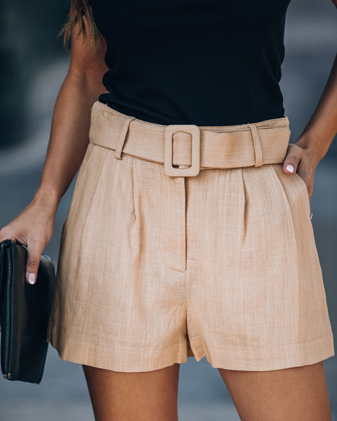 Rancho Mirage Pocketed Belted Linen Blend Shorts